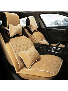 Soft Warm Attractive Checkered Crafts With Side Velvet Decorate Universal Car Seat Cover