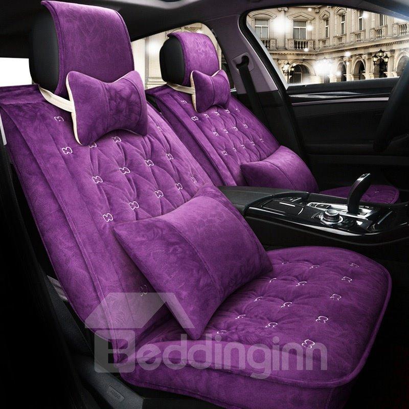 Luxury Unique Design Pure Color Business Style Velvet Plush Material Universal Car Seat Cover