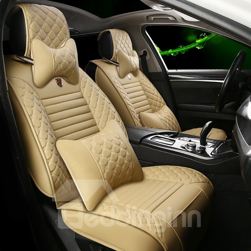 Diamond Plaid Leather Steady Colors Universal Car Seat Cover