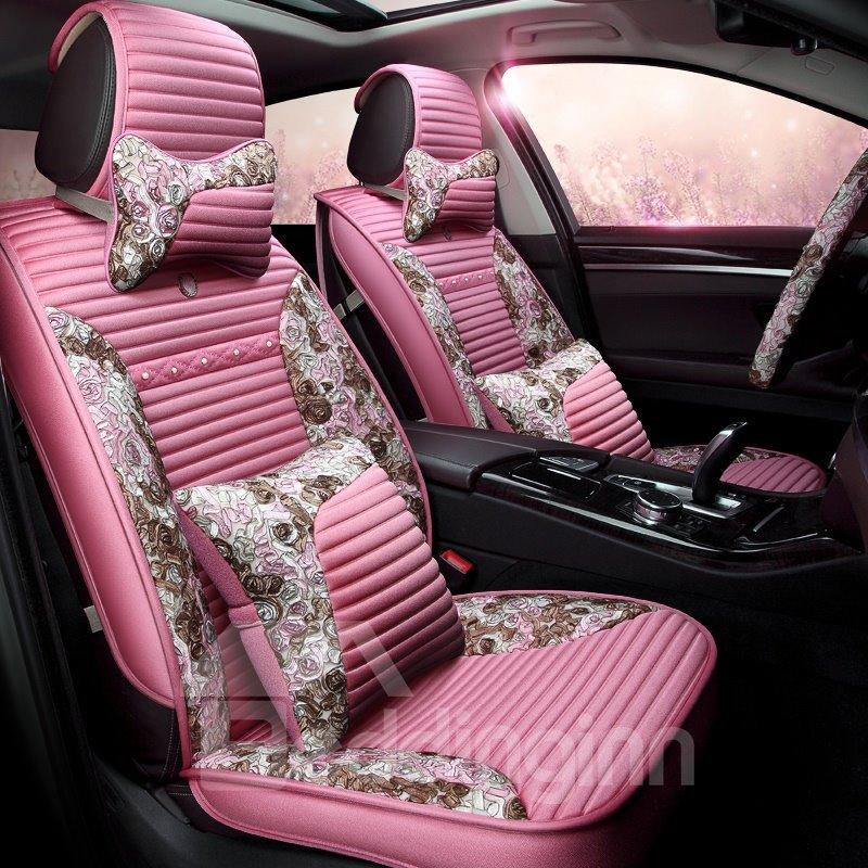 Elegant Feminine Supple Linen Material Universal Car Seat Cover