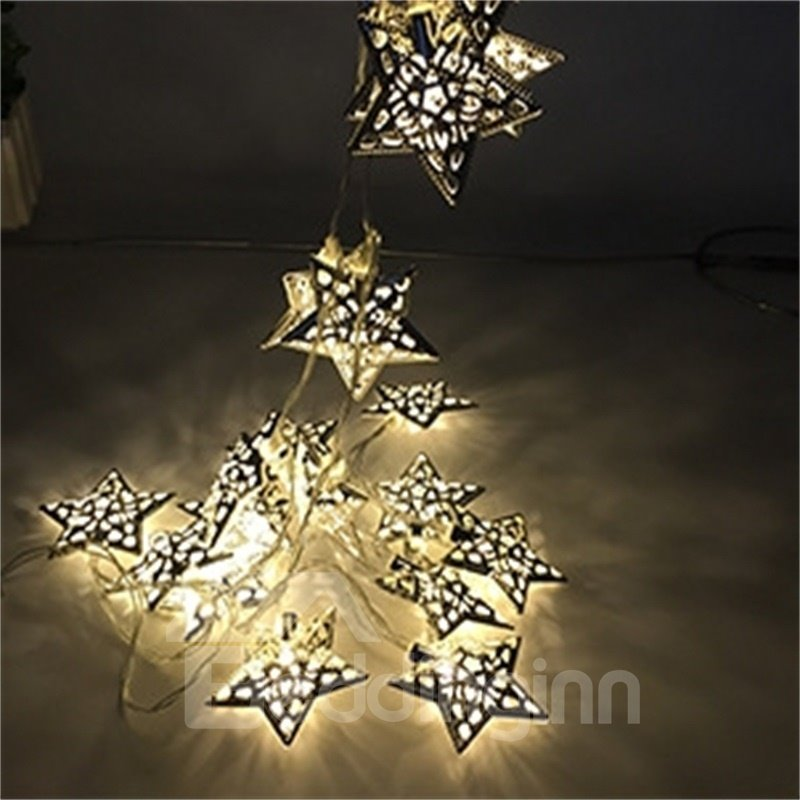 Romantic and Creative Style Hollow Out Star Shape Design 1.5Meter Strip LED Lights