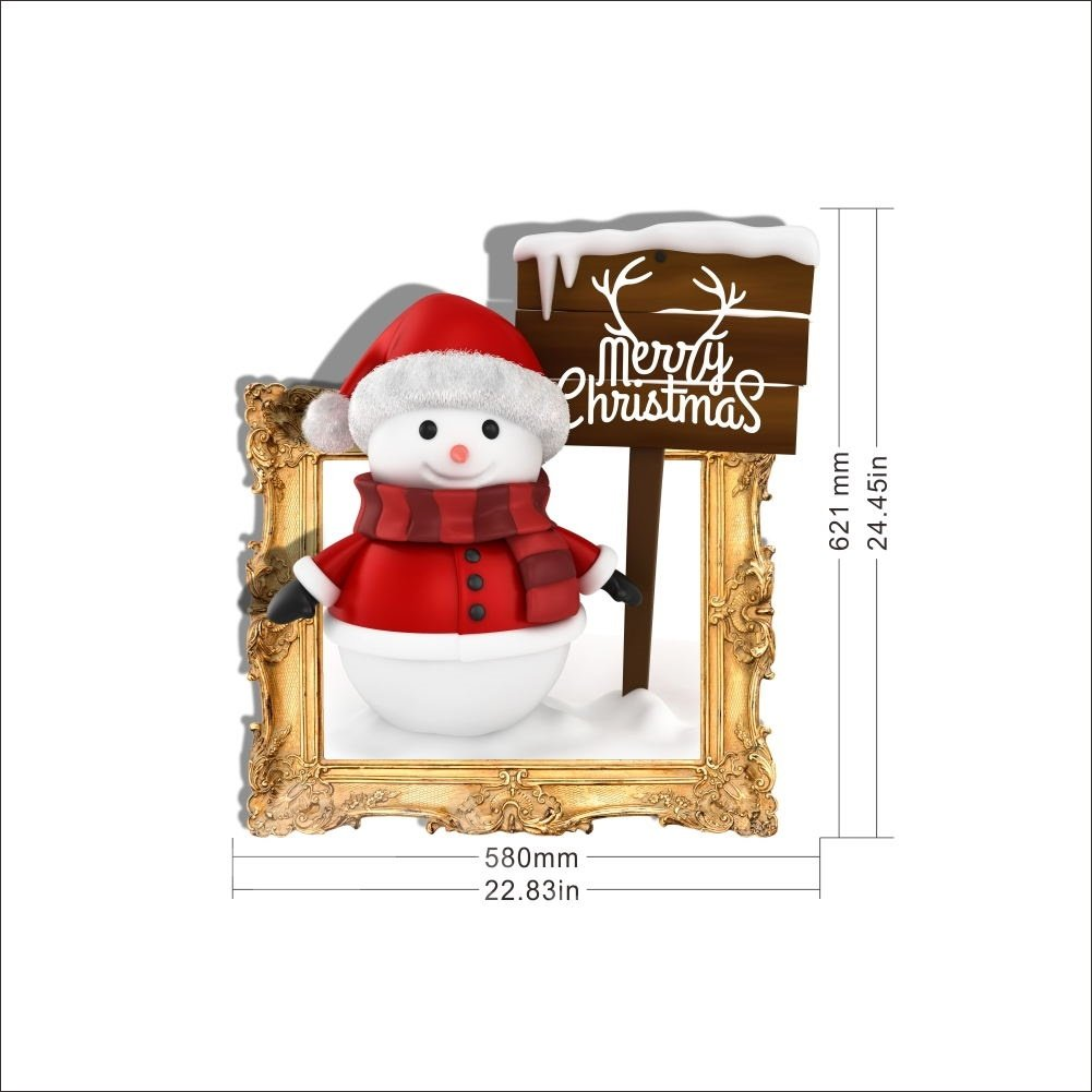 3D Merry Christmas Snowman PVC Waterproof Eco-friendly Self-Adhesive Wall Stickers