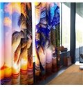 High Palm Trees and Grand Sunset Scenery with Broad Sea Printing Decorative 3D Curtain