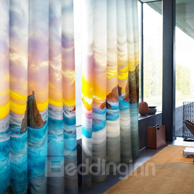 3D Huge Stones in the Broad Sea Printed 2 Panels Living Room Shading Cloth