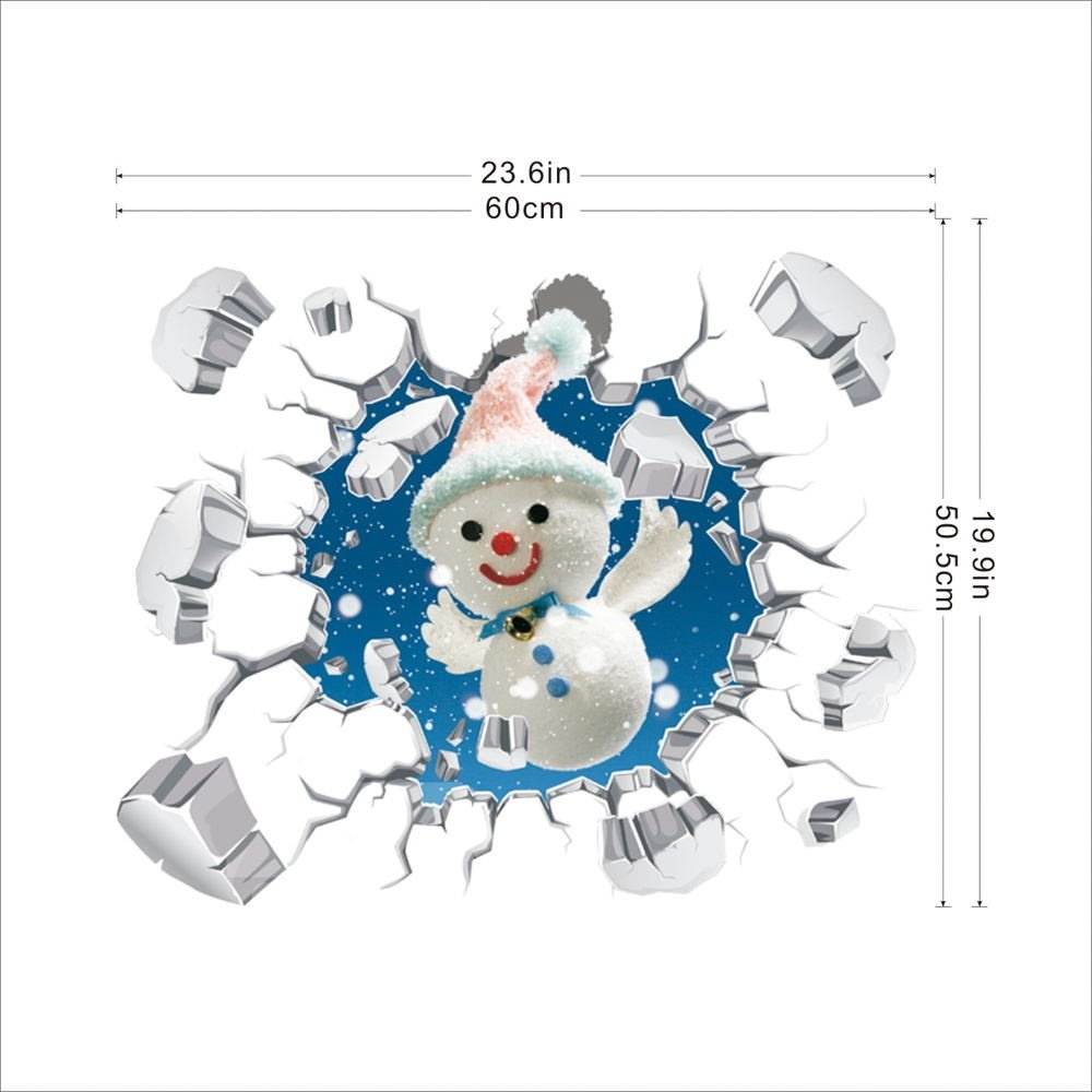 3D Explosive Wall Snowman PVC Waterproof Eco-friendly Self-Adhesive Wall Stickers