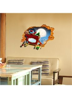 3D Christmas Father Sending Gifts PVC Waterproof Eco-friendly Self-Adhesive Wall Stickers