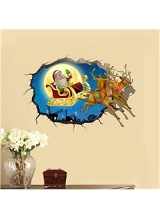 3D Running Deer Christmas Father PVC Waterproof Eco-friendly Self-Adhesive Wall Stickers