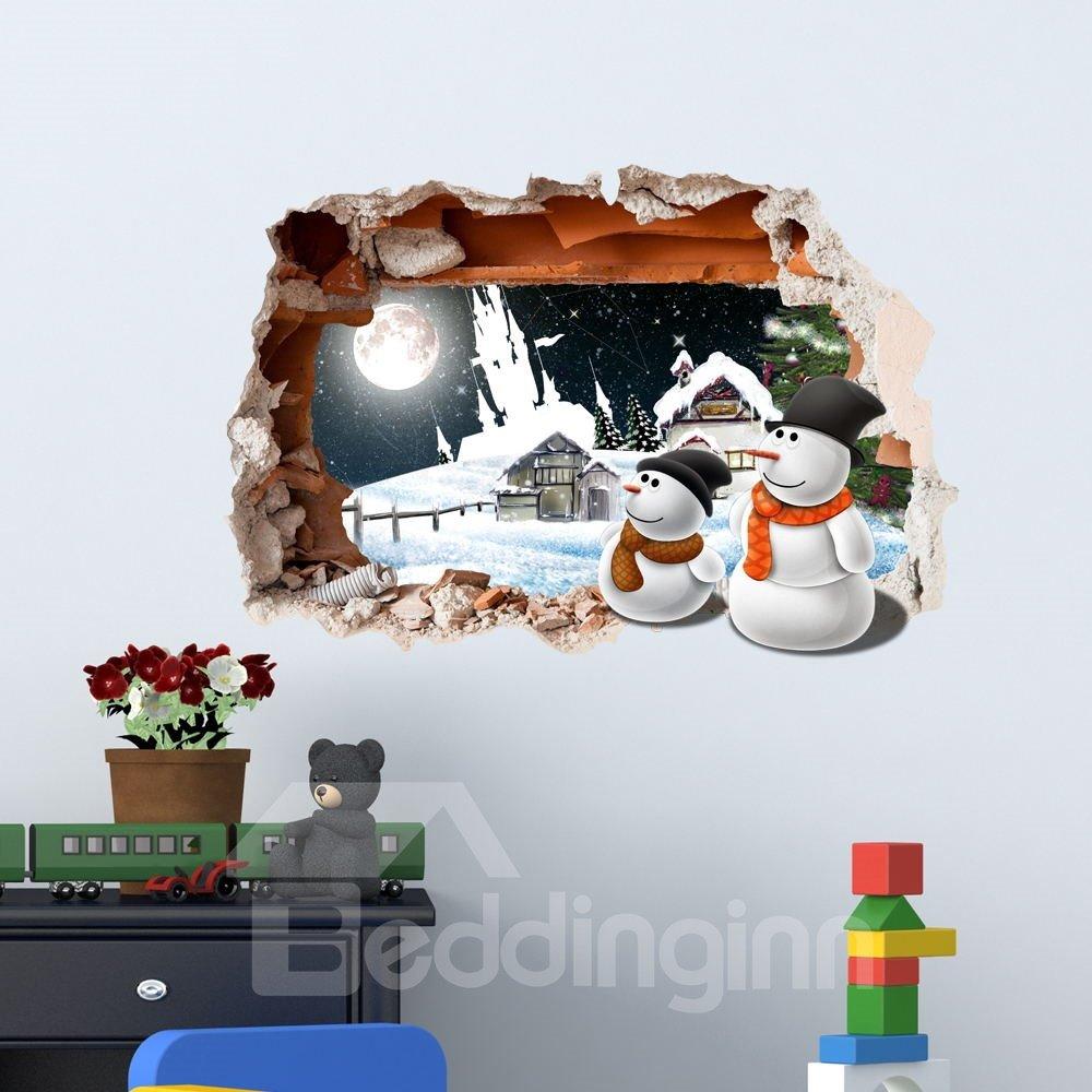 3D Snowy Cabins Snowmen Moon PVC Waterproof Eco-friendly Self-Adhesive Wall Stickers