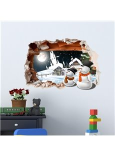 3D Snowy Cabins Snowmen Moon PVC Waterproof Eco-friendly Self-Adhesive Wall Stickers