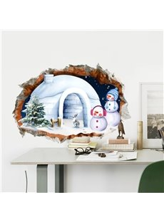3D Snowy House Snowmen through Wall Hole PVC Waterproof Eco-friendly Self-Adhesive Wall Stickers