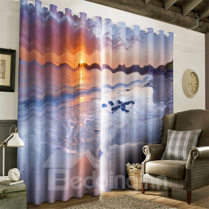 3D White Beach and Grand Sunset Scenery Printed Natural Beauty Living Room Curtain