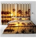 Golden Sunset Scenery with Palm Trees Printing 2 Panels Custom Living Room 3D Curtain