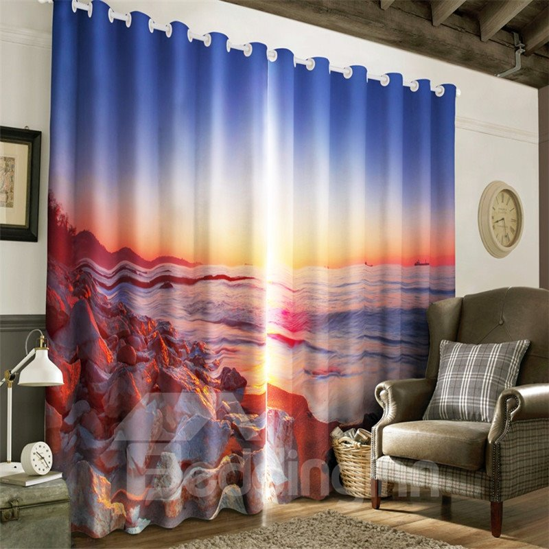3D Hard Stones and Waves under Sunset Glow Printed Blackout Living Room Curtain