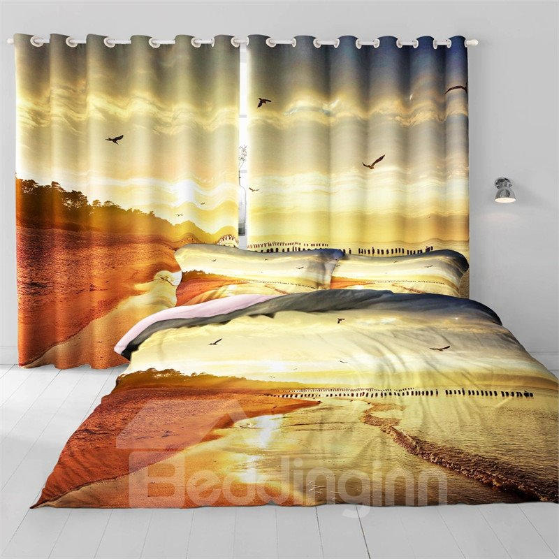 3D Flying Seagulls and Surging Waves Printed Living Room and Bedroom Window Drapes