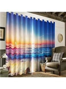 3D Choppy Seawater and Warm Sunlight Printed Living Room and Bedroom Window Curtain