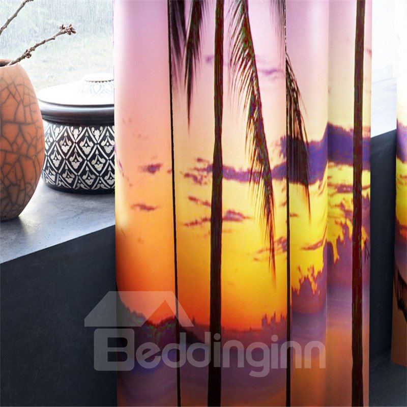 Beautiful Sunset Glow and Palm Trees Printing Living Room Decorative 3D Curtain