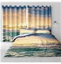3D Sea Waves and Sunset Glow Printed 2 Panels Bedroom Decorative Curtain