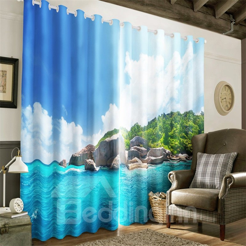 3D Blue Seawater and White Clouds with Green Trees Printed 2 Pieces Blackout Curtain