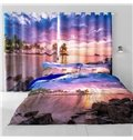 Beautiful Purple Sunset Glow and Clean Seawater Printing Living Room 3D Curtain