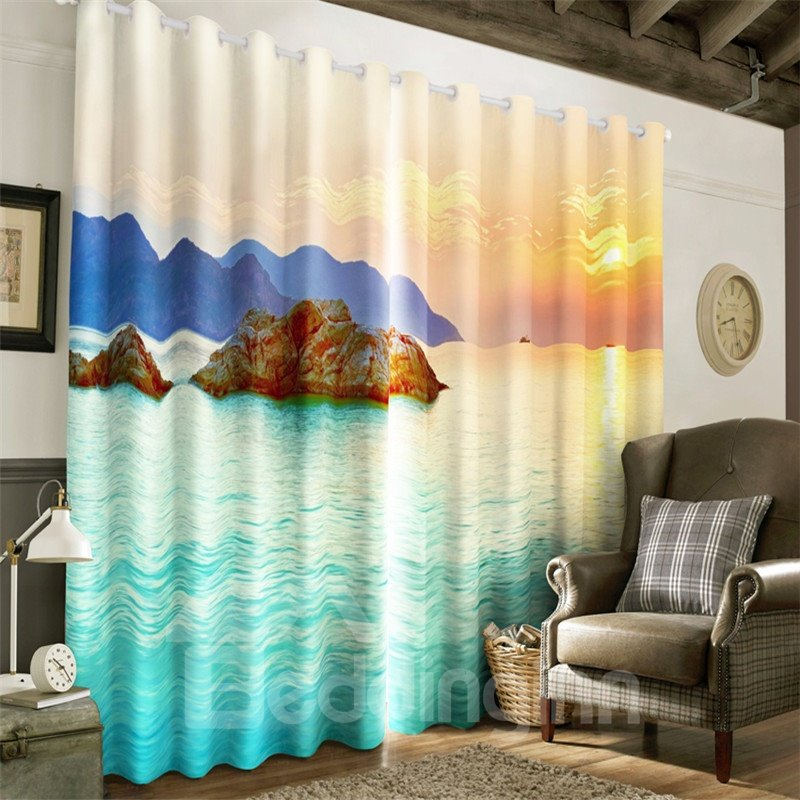 3D Rolling Mountains and Limpid Water Printed Sea Scenery 2 Panels Window Curtain