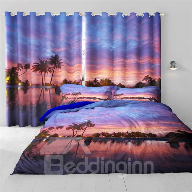 3D Soft Sunset Glow and Peaceful Lake Printed Breathable and Decorative Living Room Curtain