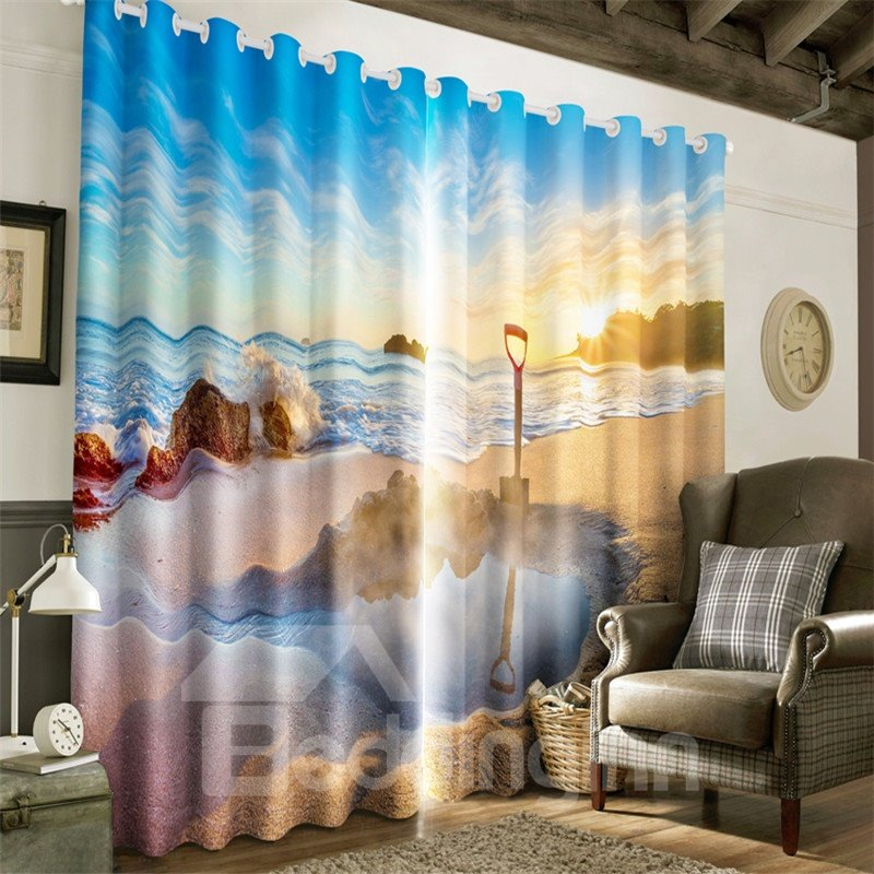 3D Bright Sunlight and Peaceful Lake Natural Scenery Printed Decorative Window Curtain