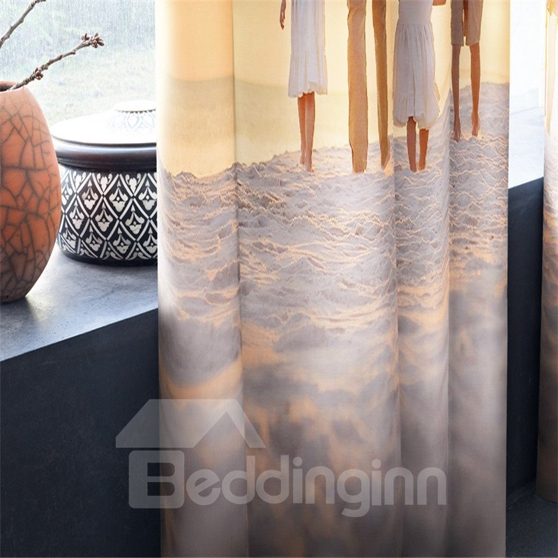 3D Happy Family on the Beach Printed 2 Panels Decorative Window Curtain