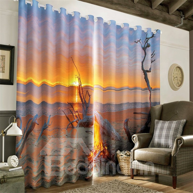 3D Golden Sunrise and Peaceful Beach Printed 2 Panels Decorative and Blackout Curtain