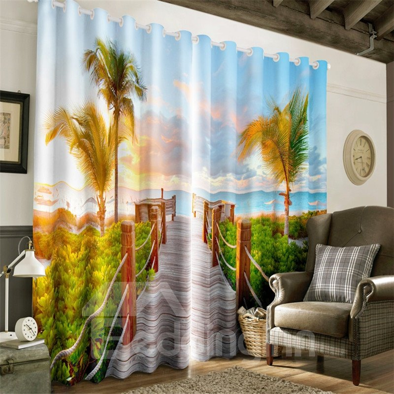 Green Palm Trees and Wooden Bridge Printing 2 Panels Decorative Window Curtain