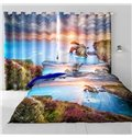 3D Beautiful Sunlight and Charming Flowers Printed Natural Style 2 Panels Curtain