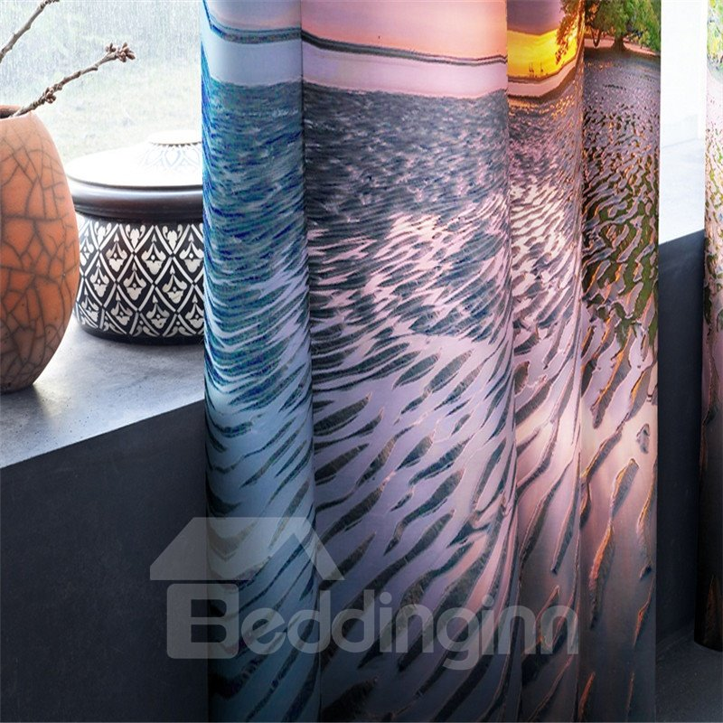 3D Green Trees and Broad Sea Printed Blackout and Decorative Curtain