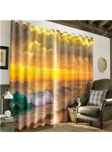 3D Grand Sunlight and Rough Seas Printed 2 Panels Decorative Window Drapes