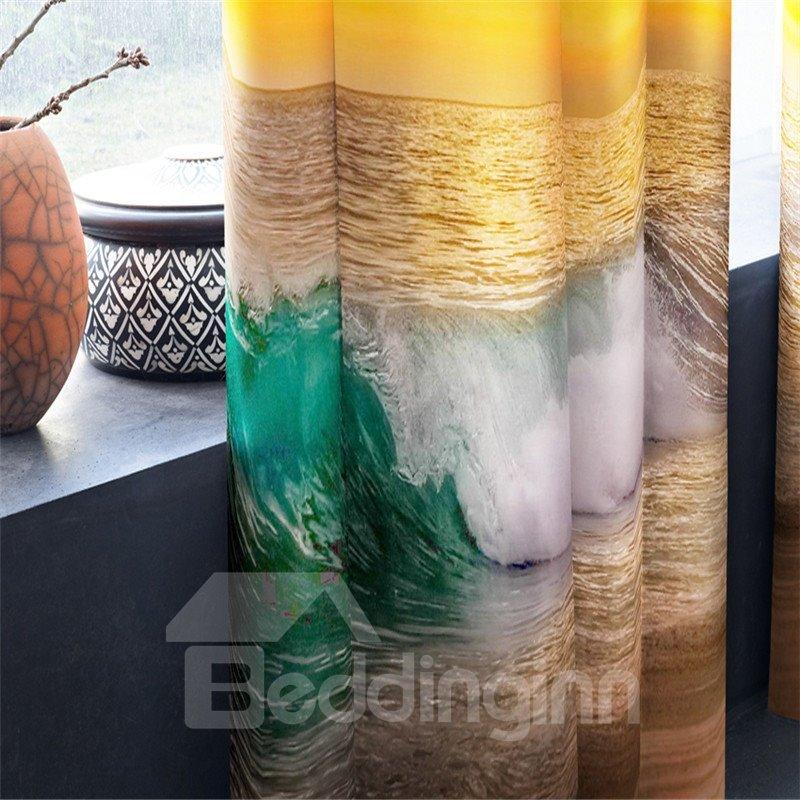 3D Grand Sunlight and Rough Seas Printed 2 Panels Decorative Window Drapes