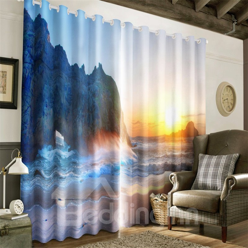 3D Great Mountains and Surging Waves Printed Living Room Decorative Curtain