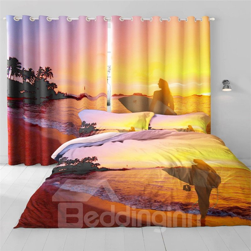 Golden Sunset Scenery with Peaceful Sea Printing 2 Panels Living Room 3D Curtain