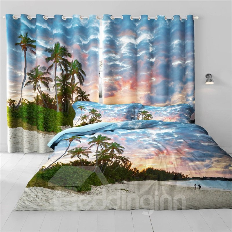 Green Palm Trees and White Beach Painting 2 Pieces Bedroom Shading Cloth