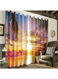 3D Warm Sunset and Palm Leaves Printed 2 Panels Decorative and Creative Curtain