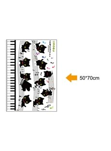 Cat Play the Piano on Your Wall Room Decor Sticker