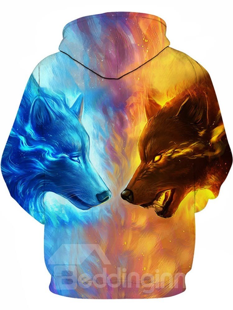 Fire Wolf Fight 3d Pattern Color Block Long Sleeve Cool