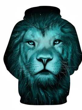 Blue Cool Lion Long Sleeve 3D Pattern Hoodie