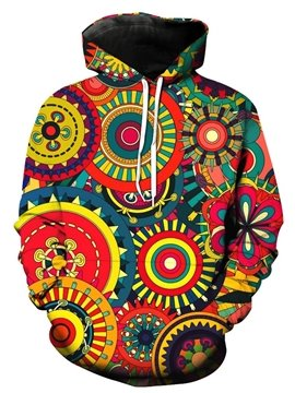 Boho Style Colorful Circle Long Sleeve 3D Pattern Hoodie