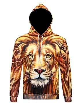 Unhappy Lion Long Sleeve 3D Pattern Hoodie