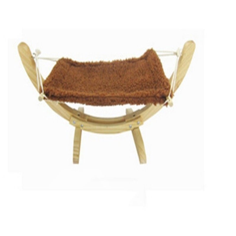 Wooden Hammock Cat Beige Gray for Relax