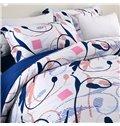 Adorila 60S Brocade Elegant Calla Lily and Sketch Printed 4-Piece Cotton Bedding Sets
