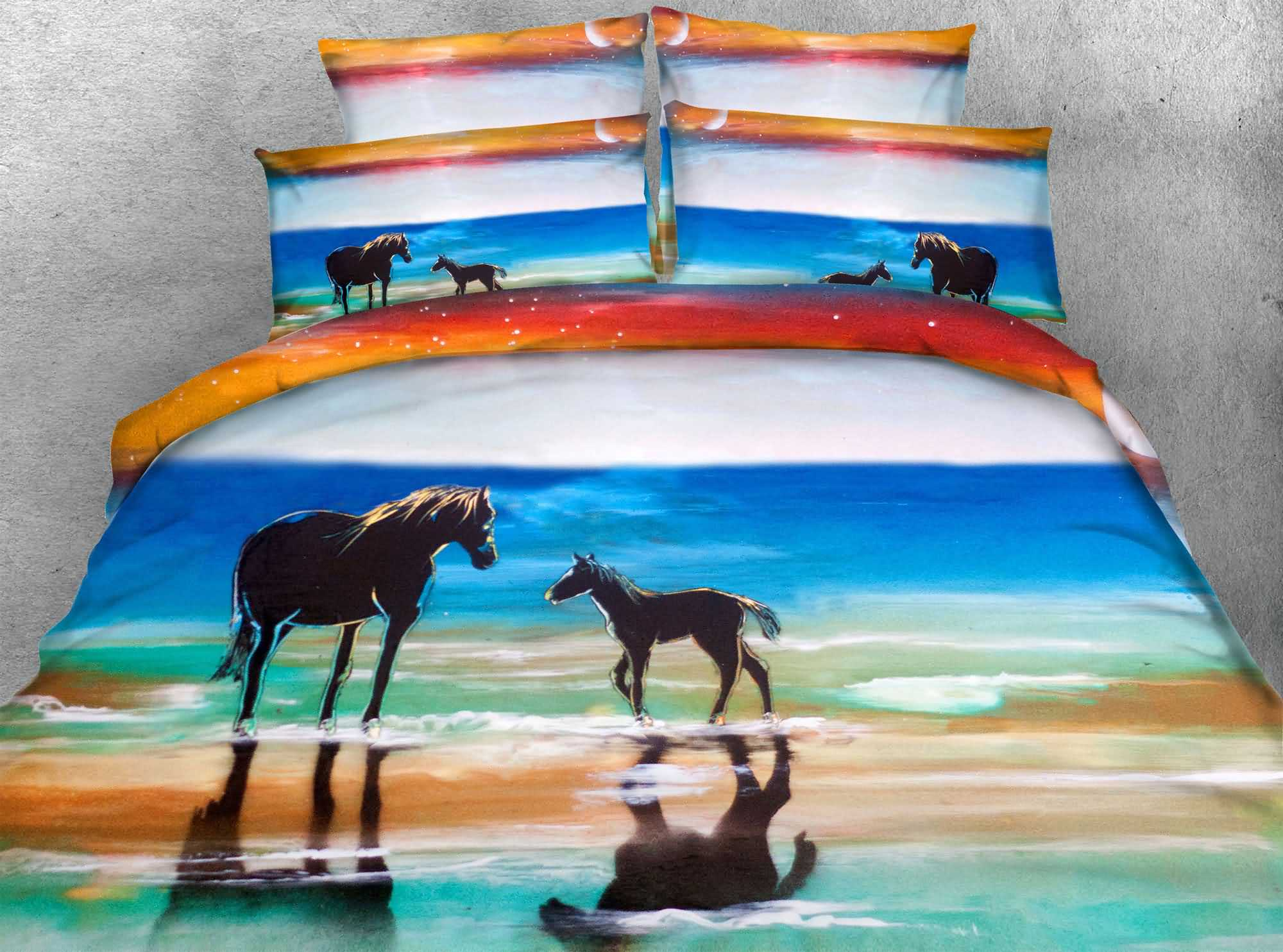 Horse and Colt Printed 4-Piece 3D Bedding Sets/Duvet Covers