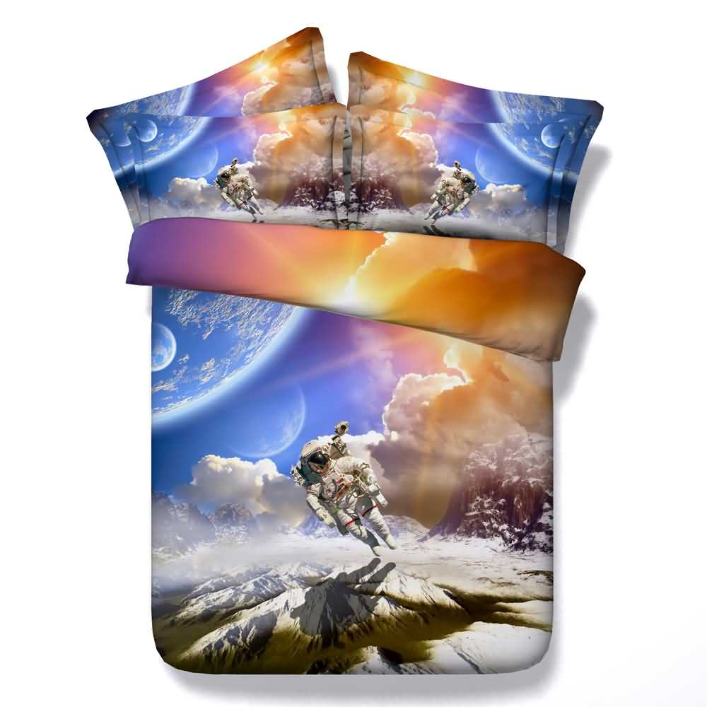 Astronaut and White Clouds Printed 4-Piece 3D Bedding Sets/Duvet Covers