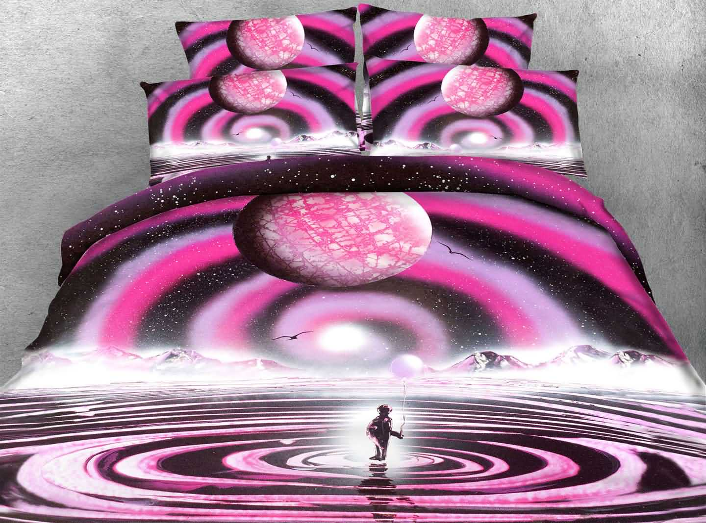 3D Visual Traveler and Planet Printed 4-Piece Bedding Sets/Duvet Covers