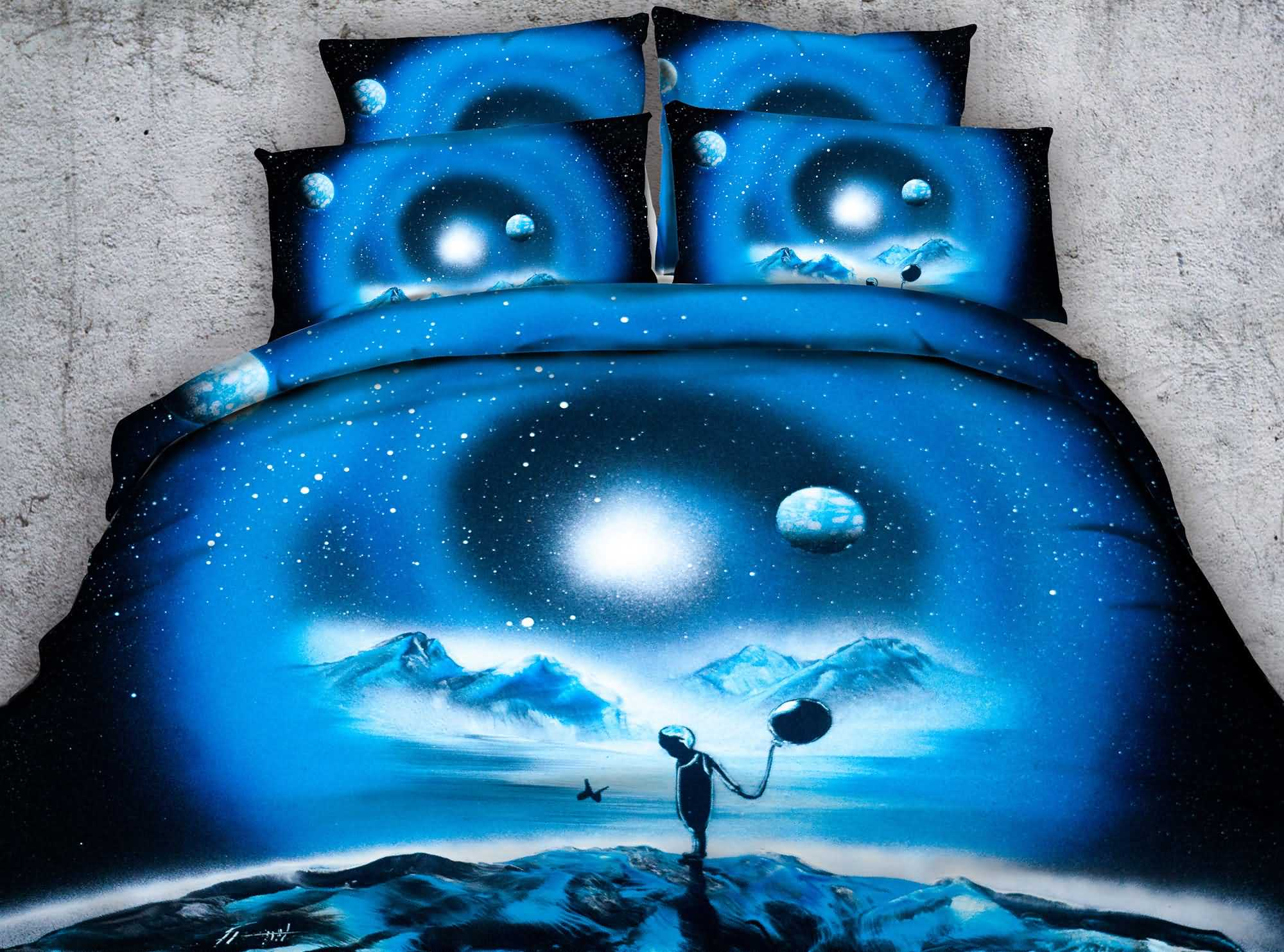 3D Kid with Balloon and Galaxy Printed 4-Piece Blue Bedding Sets/Duvet Covers