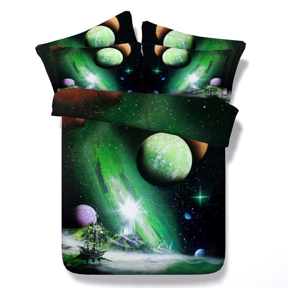 Ship and Galaxy Printed 4-Piece Green 3D Bedding Sets/Duvet Covers