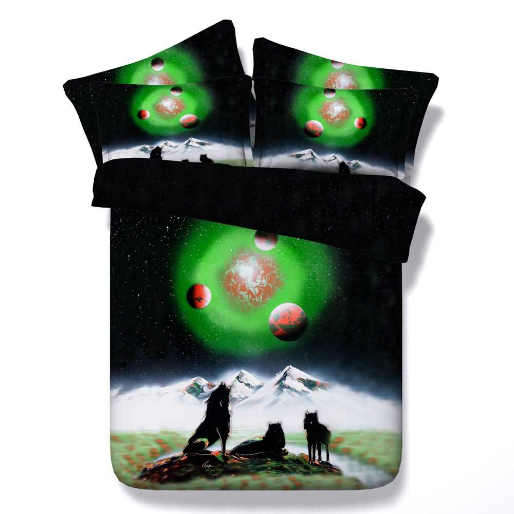 3D Wolf and Galaxy Printed 4-Piece Green Bedding Sets/Duvet Covers